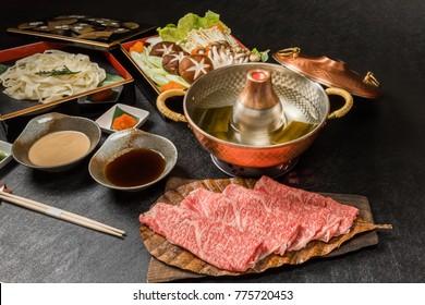 Shabu-shabu pot in Japan of gourmet beef
