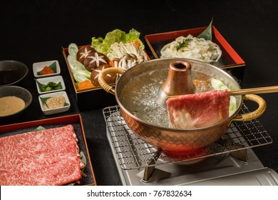 Shabu-shabu pot of Japanese cuisine beef