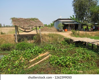 Shack and bridge in rural Battambang, Cambodia