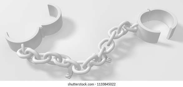 Shackles chain bolted down white 3d illustration, isolated, horizontal background