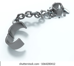 Shackles open chain grey metal deteriorating on white surface, 3d illustration, horizontal