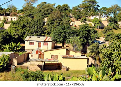 Shacks and huts in a South African rural township.