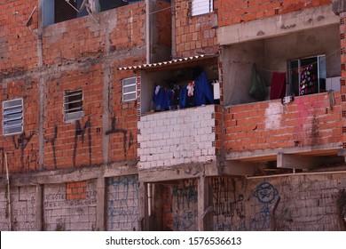 Shacks in the slum in a poor neighborhood of Sao Paulo
