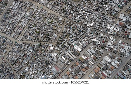 shacks in township in south africa, from directly above