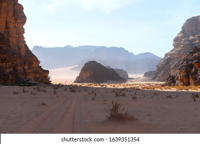 In the shade of a canyon in Wadi Run Valley, Jordan. Interesting geological rock formations. Also know as the Valley of the Moon and famous for being the filming location of the Lawrence of Arabia.