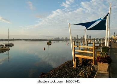 Shade sails at sunrise on the Broadwater Gold Coast Australia.