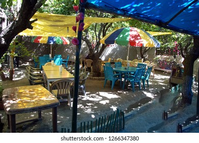 Shaded dining area of roadside restaurant near Lamayuru gompa monastery, Ladakh, India