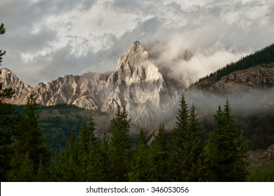 A shaded mountain in the distance with foreground trees and fog in the Rocky Mountains of Alberta.