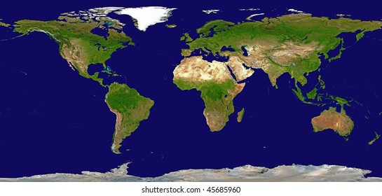Shaded Relief Map of the World, Data Source: NASA