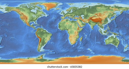 Ocean depth map images stock photos vectors shutterstock a shaded relief world map with hypsometric tints showing land elevation and bathymetry derived from public gumiabroncs Image collections