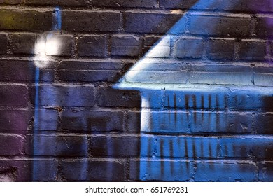 Shades of Blue, Spray Paint on Brick