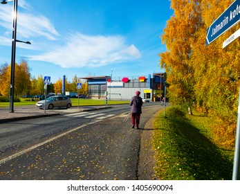 """The shades of fall in the city. The blue sign in the photo """"JALMARIN KOTO"""" means """"home of Jalmari"""" (it's a service house of Kangasala city) and the other sign """"Finnentie"""" means the road of Finne"""