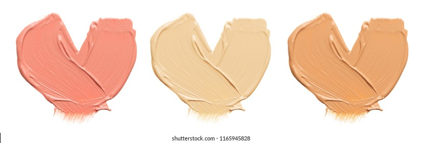 Shades Of Foundation On White Background.