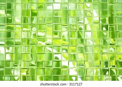 Shades of green glass blocks