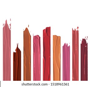 Shades of lipstick different tones color stroke on white background