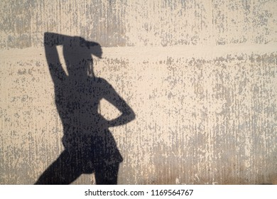 Shadow of anonymous sensual woman in confident pose against concrete wall