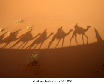 Shadow of a caravan in the Sahara desert (Three Wise Men)