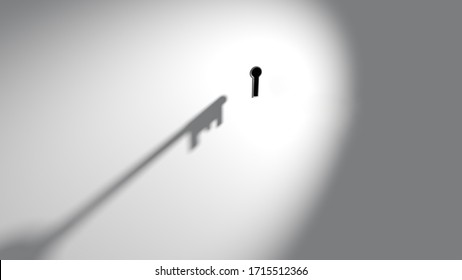 Shadow cast by abstract imaginary key approaching or moving towards keyhole in wall