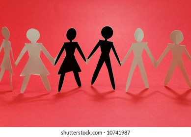 shadow figures of woman and men group join on red