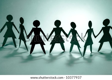 shadow figures of women group join