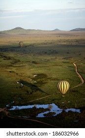 Shadow of Hot Air Balloon Serengeti Africa