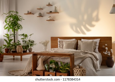 Shadow of a leaf on a wall in a botanical bedroom interior with a comfy double bed. Real phot