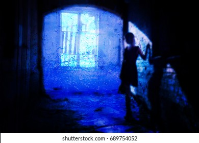 The shadow of a lone woman in an abandoned old ruined house Ghost