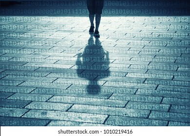 Shadow of a man walking on sunny street with binary numbers background.