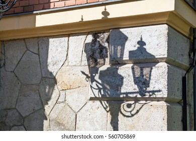 Shadow of old street lamp