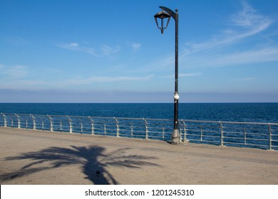 The shadow of a palm tree falls in front of a lamppost on the Corniche Beirut, a seaside promenade and waterfront esplanade in Beirut, Lebanon. With room for text and space for copy.
