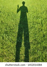Shadow people on the grass. shoulders and arm showing victory gesture.