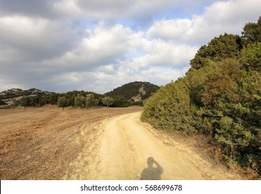 Shadow of photographer and landscape of Karpass peninsula of Northern Cyprus in Asia (Karpasia, Karpaz)