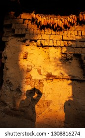 Shadow of a photographer on earthen wall of ancient chinese house at dusk, dried corn cobs hanging over the ancient earthen wall, beautiful sunset light, Chengzi Village, Yunnan, China.