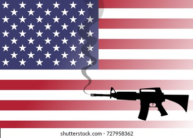 A shadow or silhouette of a smoking gun against the United States flag.