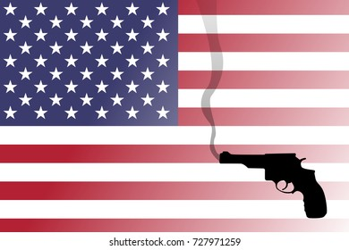 A shadow or silhouette of a smoking gun (revolver) with the United States flag in the background.