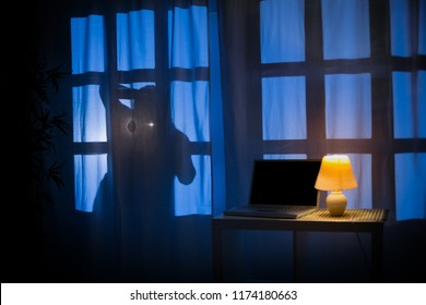 Shadow or silhouette of thief at night