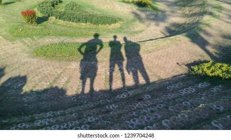 Shadow silhouette of three peple on the floor in the sun at the park.