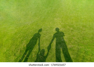 Shadow of three persons family holding hands reflected on the green grass