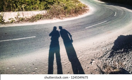 Shadow Two Friends Talking Along Road Stock Photo Edit Now 1245349675