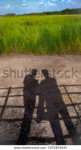 Shadow Two Male Friends Field Friendship The Arts Stock Image 1431893642