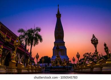 Shadow of Wat Phra That Phanom at Nakhon Phanom, Thailand