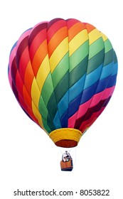 A shadowless & evenly illuminated, colorful hot air balloon. The perfect accent guaranteed to draw attention to your advertisement. Isolated on white.