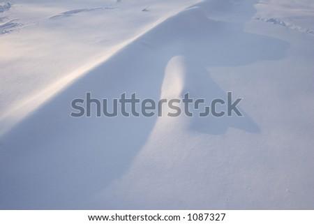 Shadowplay On Field Freshly Fallen Snow Stock Photo (Edit