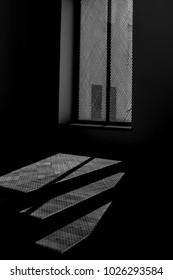 Shadows are cast through a window.