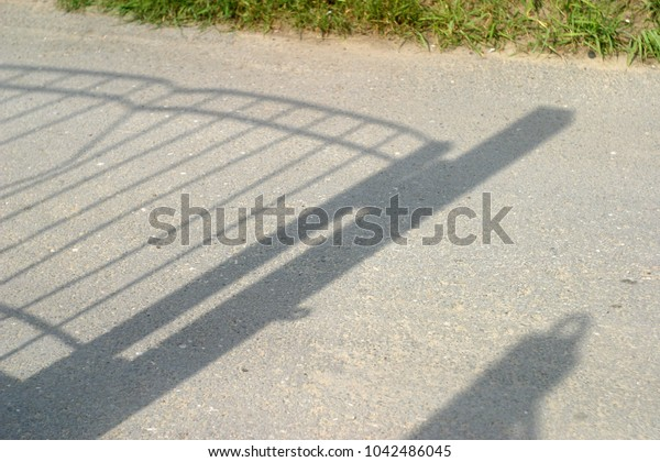 Shadows on the ground. Summer background