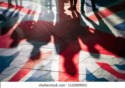 Shadows of People and UK Flag Citizens of Great Britain