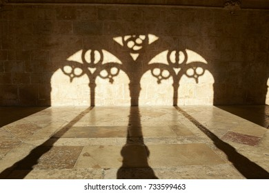 Shadows and silhouette in the cloister of the monastery of the jeronimos in Lisbon