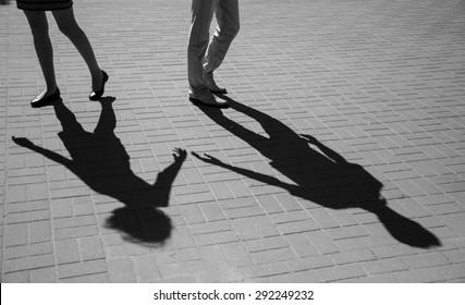 Shadows of two young people, love concept