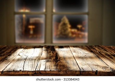 shadows and wooden table and xmas time