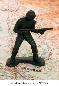 Shadowy green army man standing map Iraq